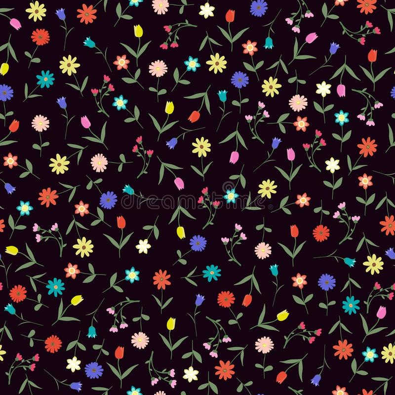 Seamles hand drawn floral pattern isolated on dark background vector illustration. Many random flowers, many colors. Early spring flowers vector illustration