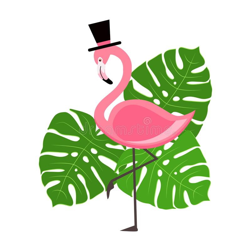 Pink Flamingo vector illustration with tropical palm leaves stock illustration
