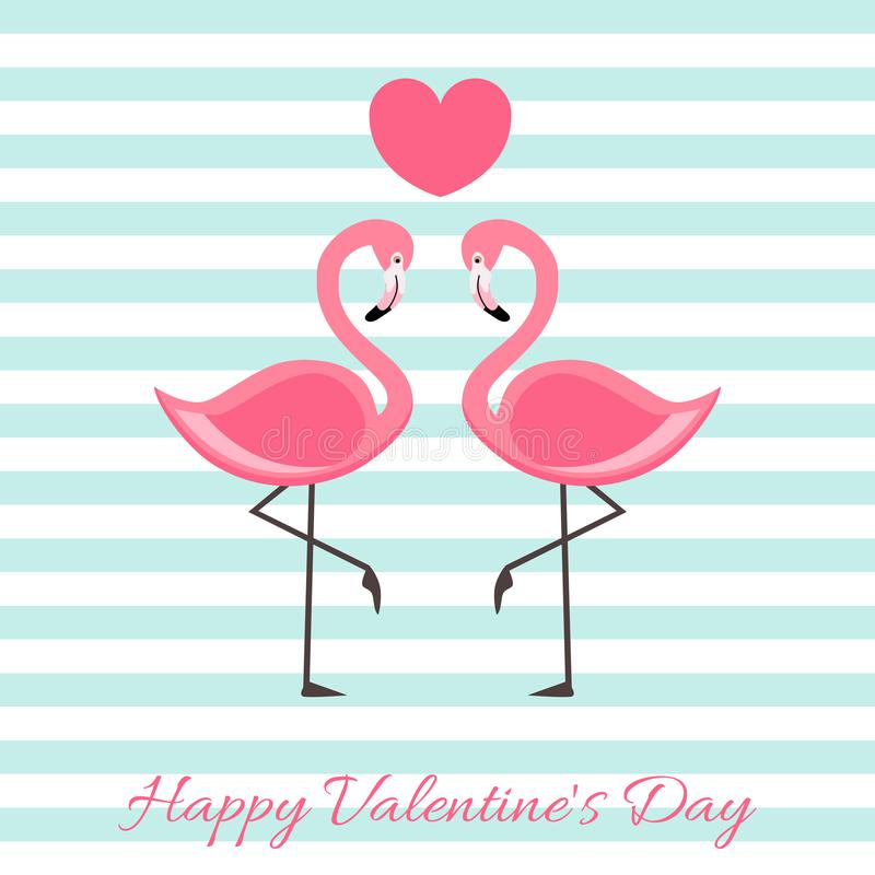 Happy Valentine`s Day with Flamingo vector illustration . lettering isolated illustration stock illustration