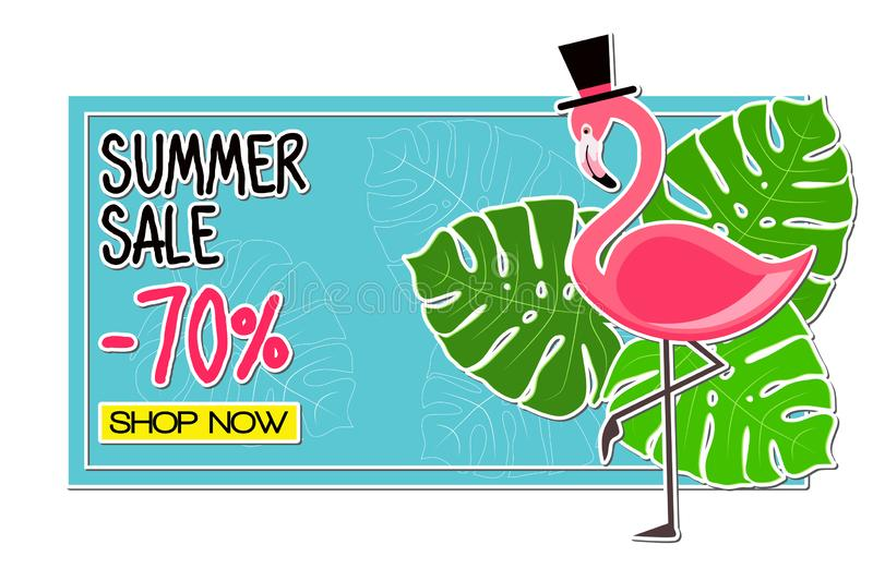 Summer Sale -70% Shop Now. Pink Flamingo vector illustration with tropical palm leaves on blue background. royalty free illustration