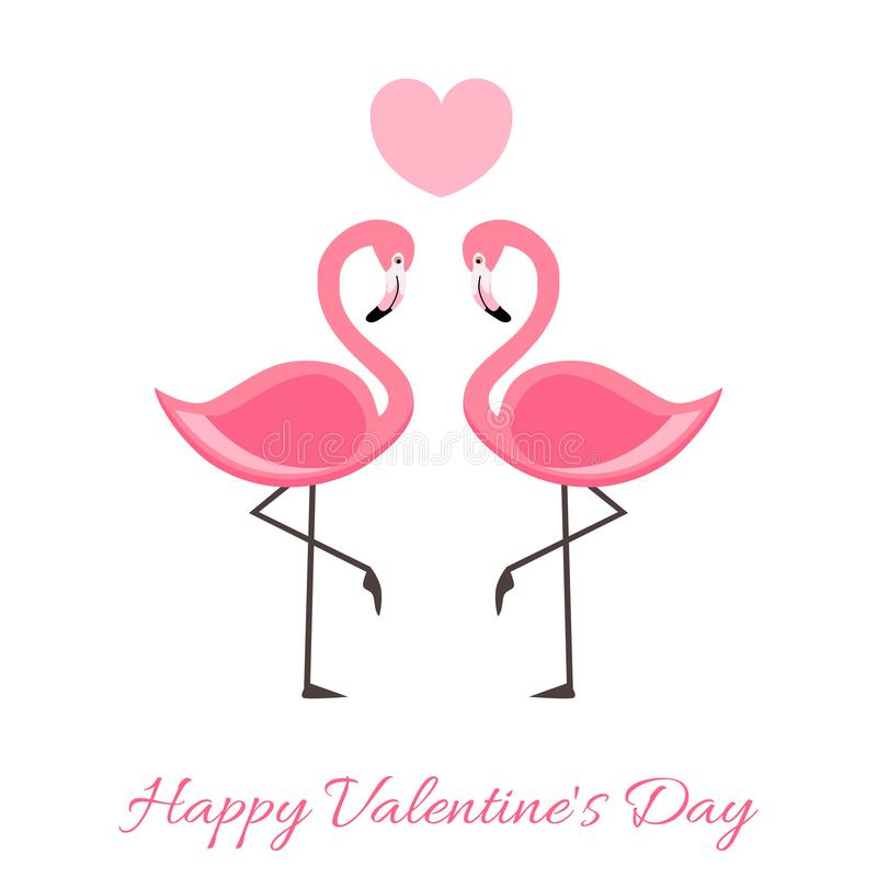 Happy Valentine`s Day Lettering illustration with Pink Flamingo. Vector isolated illustration. On white background vector illustration