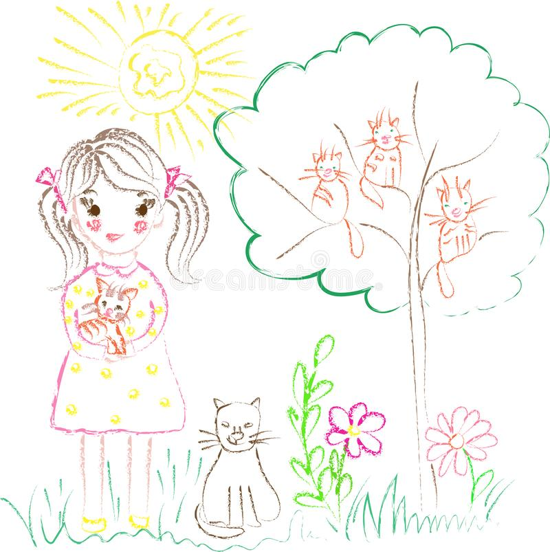 Illustration on the theme of children`s drawings girl with cats stock photo