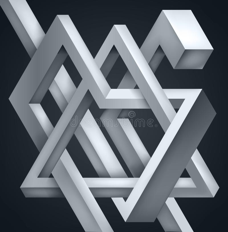 3D Twisted Composition of abstract forms. Shapes puzzle. Vector unreal construction on dark background royalty free illustration