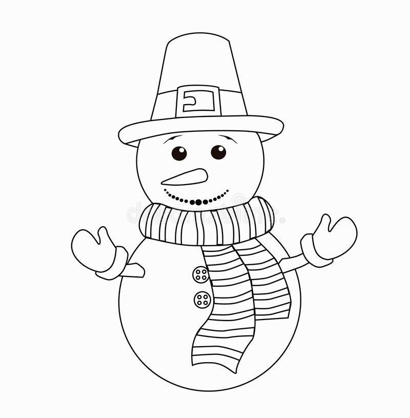 Coloring book for kids. Black and white cute cartoon snowman. Vector illustration. stock illustration