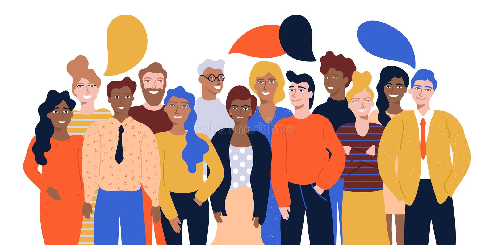 Colorful vector illustration in flat cartoon style group portrait of funny smiling office workers or clerks standing together vector illustration