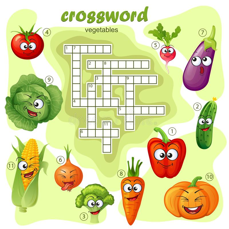 Crossword puzzle game of vegetable. Emoticons stock illustration
