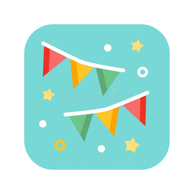 Holiday flags flat color icon. Carnival, birthday, celebration, party, new year or festival concept. vector illustration