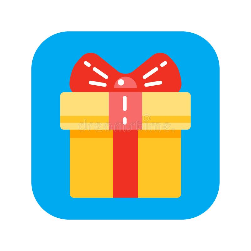 Present flat vector icon. Сoncept of pleasant surprise. Sign for web or mobile app. UI/UX, GUI user interface. Vector clipart, illustration royalty free illustration