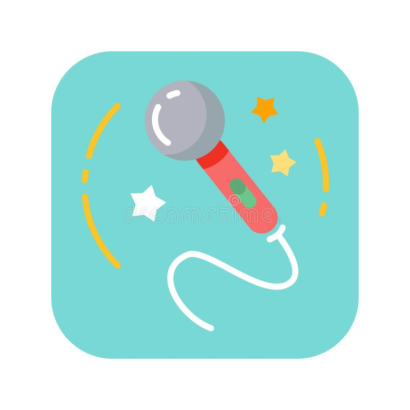 Microphone color flat icon. Vector clipart, illustration. Microphone color flat icon. Concert and performance of musician, entertainment with voice professional vector illustration