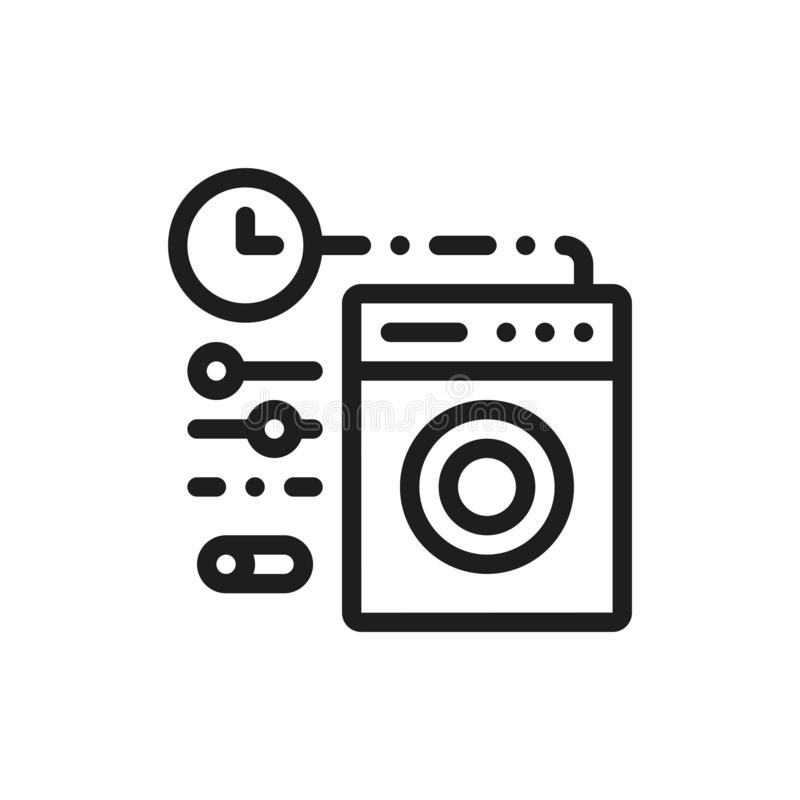 Smart washer line icon. Home automation concept. royalty free illustration