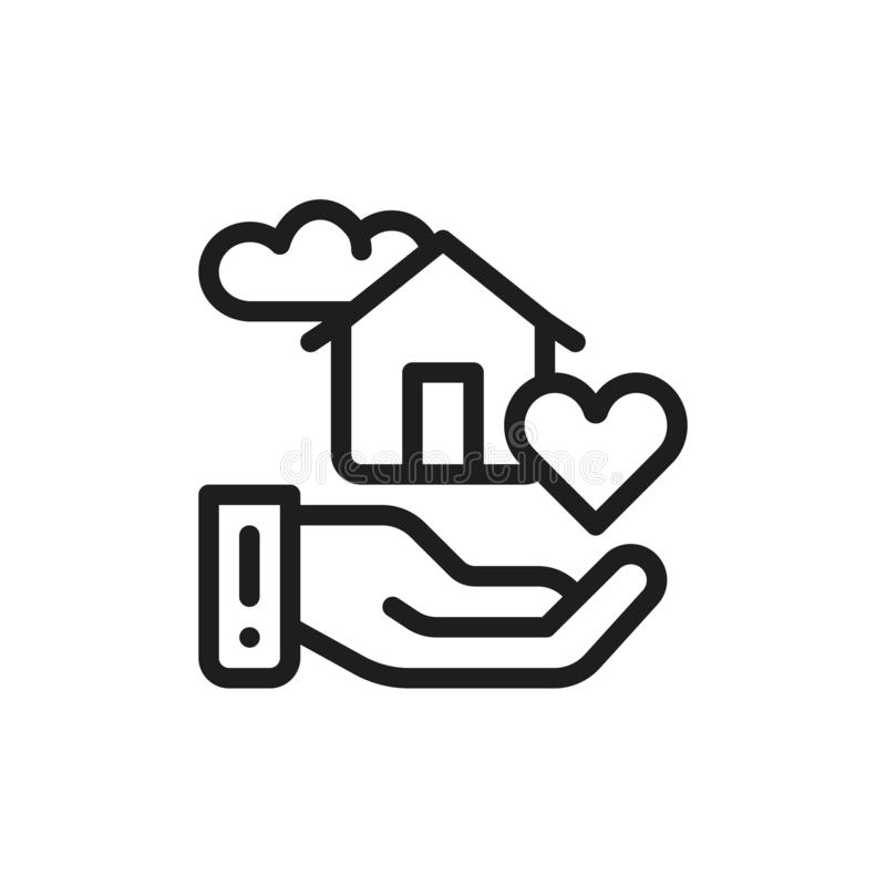 Flat icon sweet smart home. Concept of house comfort. Isolated outline drawing. Line illustration. Sign for web or mobile app. UI/UX user interface. Vector stock illustration