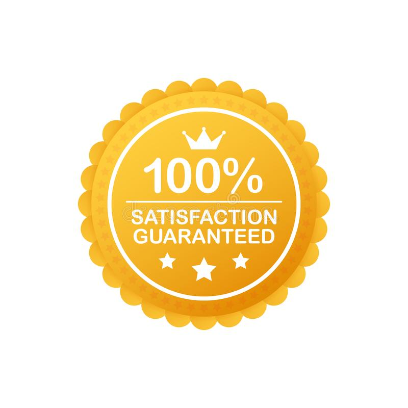 Gold Satisfaction Guarantee Emblem Seal. Medal Label Icon Seal Sign Isolated on White Background. Vector illustration. Gold Satisfaction Guarantee Emblem Seal royalty free illustration