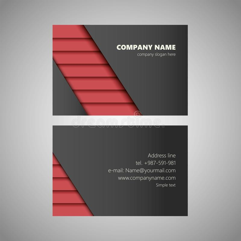 Modern clean red black business card vector template stock illustration