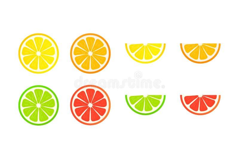 Collection of slices lemon, orange, grapefruit and lime on white background. Vector illustration. stock illustration