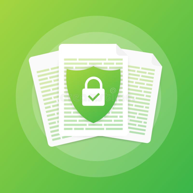 Document protection concept, confidential information and privacy. Secure data with paper doc roll and guard shield. royalty free illustration