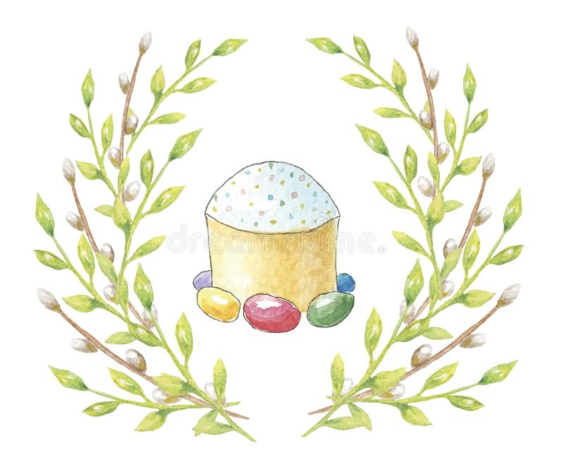 Happy Easter. Watercolor cake with a wreath of green leaves and willow branches for cards, invitations, greetings on white backgro vector illustration