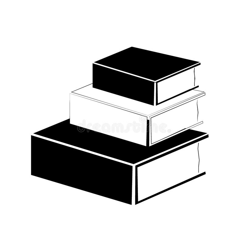 School, school supplies - black and white silhouettes royalty free illustration