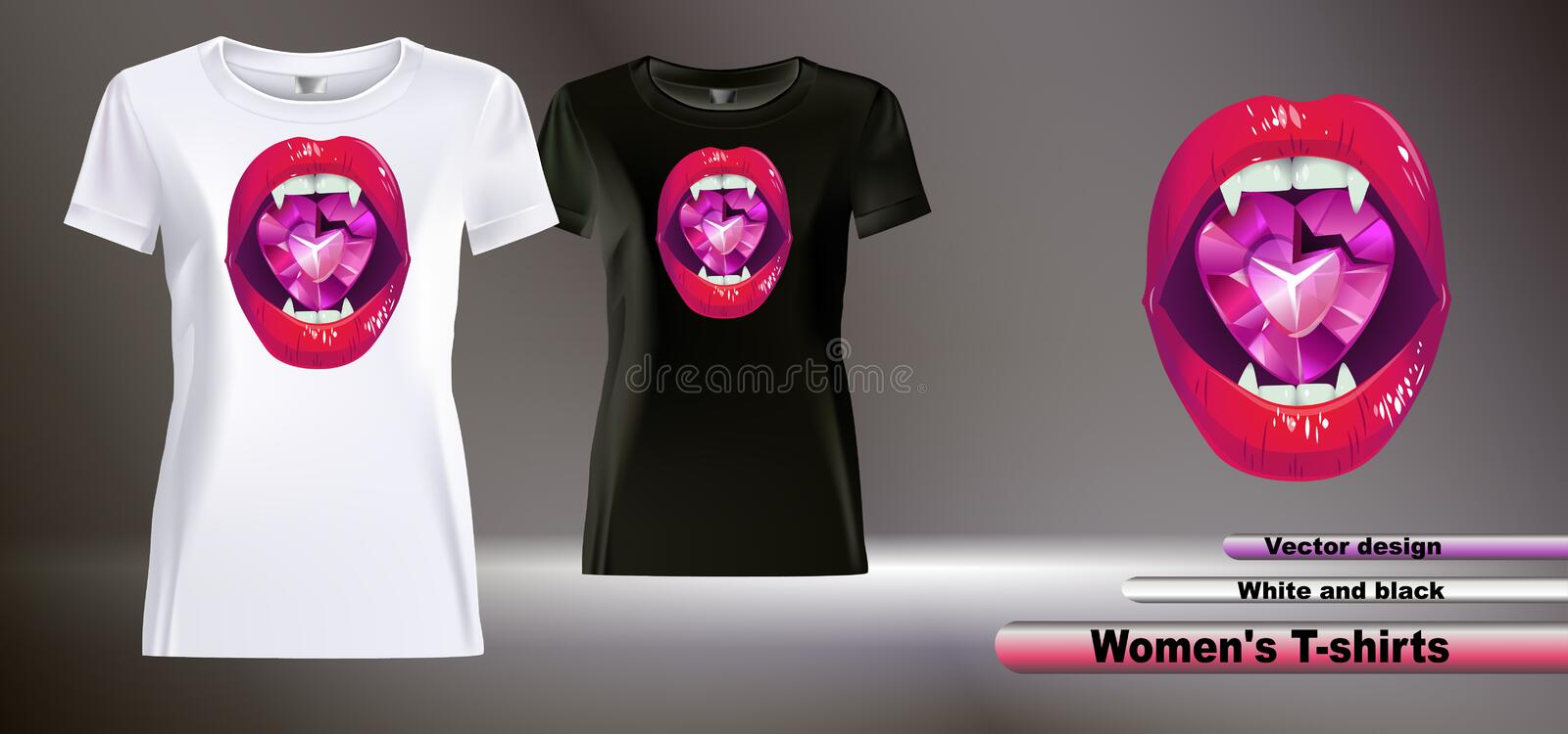 Women`s t-shirts WITH LIPS AND CRYSTAL. royalty free illustration