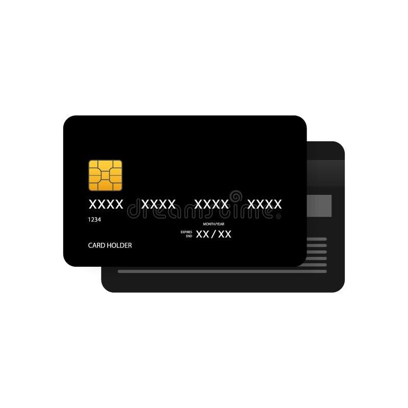 Black simple credit card template on grey background. Vector Illustration. royalty free illustration