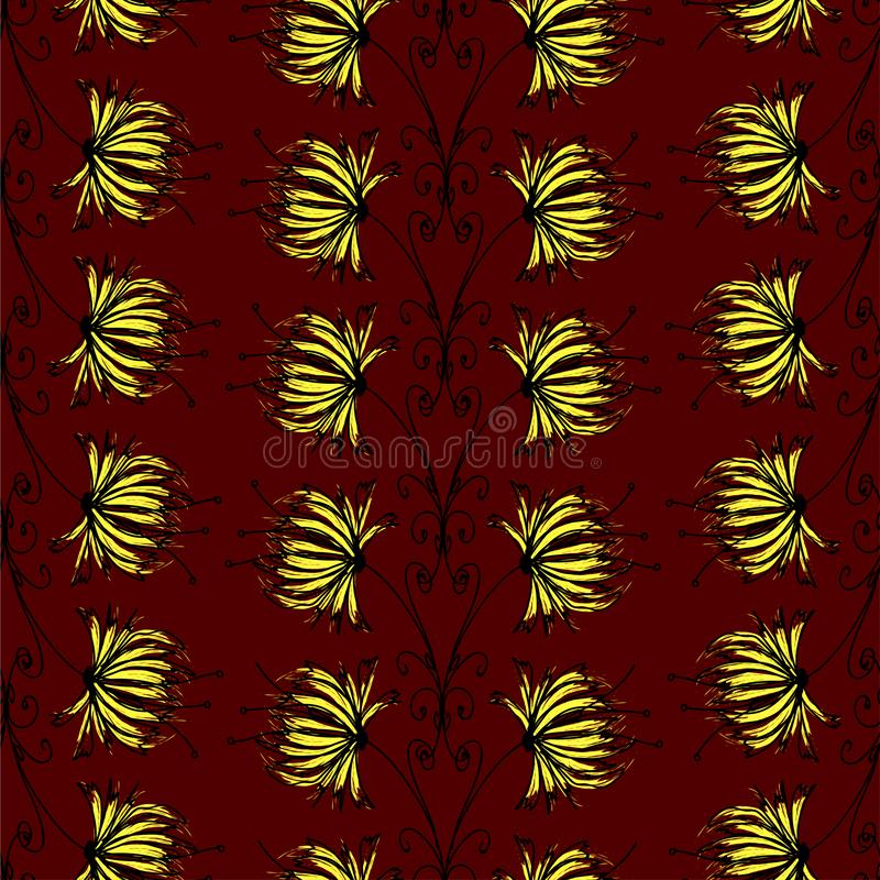 Abstract floral ornament of black and gold colors over a dark red color. Seamless pattern vector stock illustration