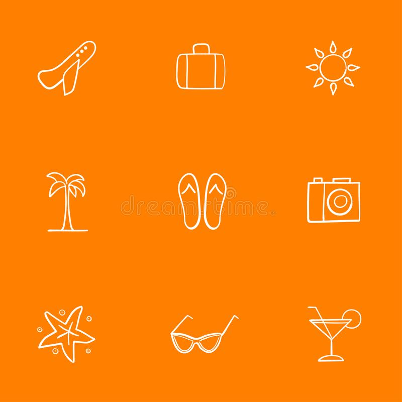Icons on the theme of vacation and recreation. Accesories for beach holidays in hot countries. Seamless pattern. Vector graphics. vector illustration