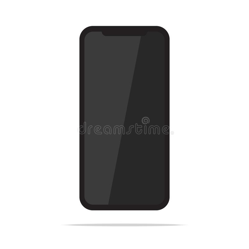 Black mobile cell phone isolated on white background vector illustration. Smartphone flat design version vector illustration