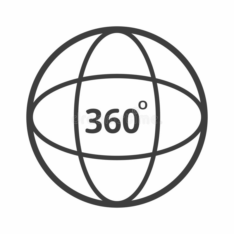 360 degrees angle icon sign outline flat design style vector illustration isolated on white background. vector illustration