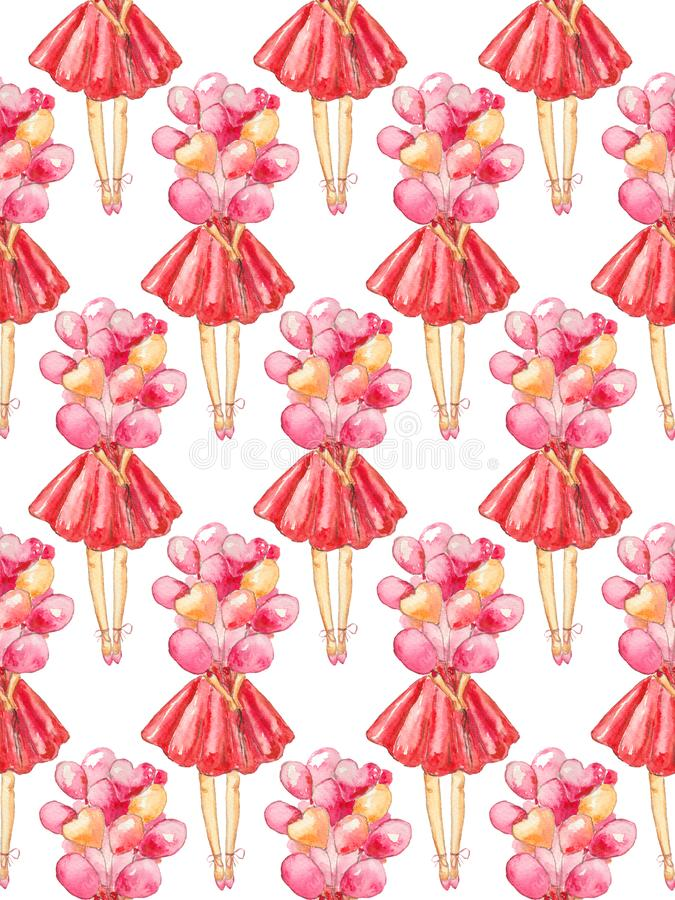 Seamless pattern of watercolor illustration of a faceless girl in a red dress holding a bunch of balloons on a white background vector illustration