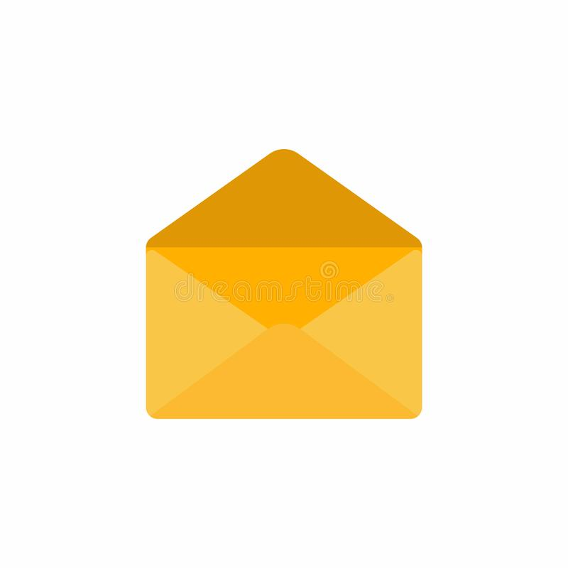 Opened empty golden yellow envelope icon sign flat design vector illustration isolated on white background vector illustration