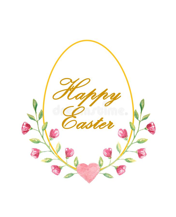 Happy Easter postcard with gold egg, text and beautiful little flowers. In watercolor style vector illustration