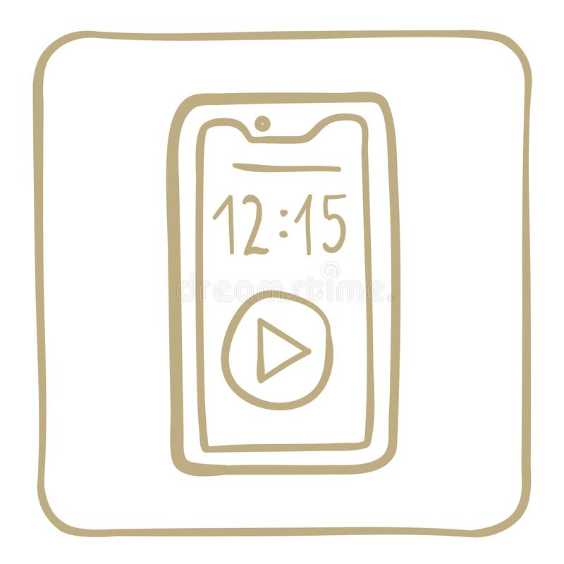 Smartphone - icon in a light brown frame. Vector graphics. Icon of communicator made in vector graphics in gold color royalty free illustration