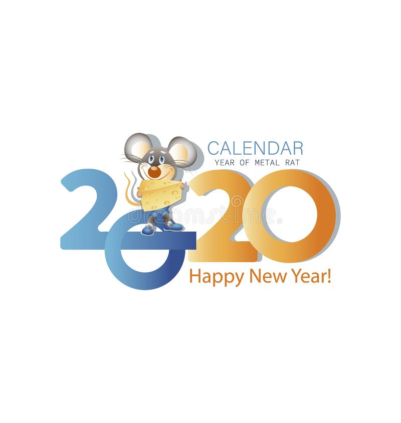 Happy new year greeting card for 2020 with the main big numbers and a mouse with cheese. Congratulations with a funny character. Symbol of the year vector illustration