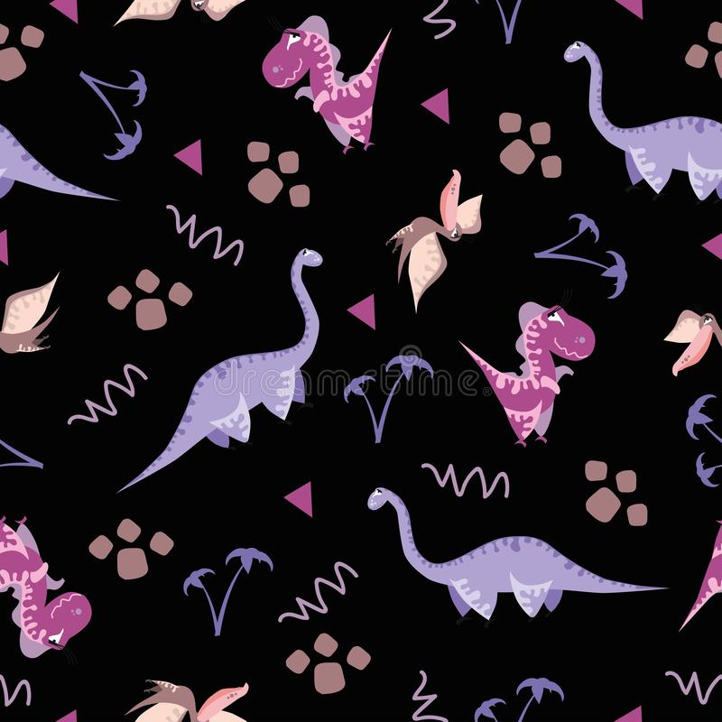 Seamless dinosaur pattern. Animal black background with colorful dino. Vector illustration. vector illustration