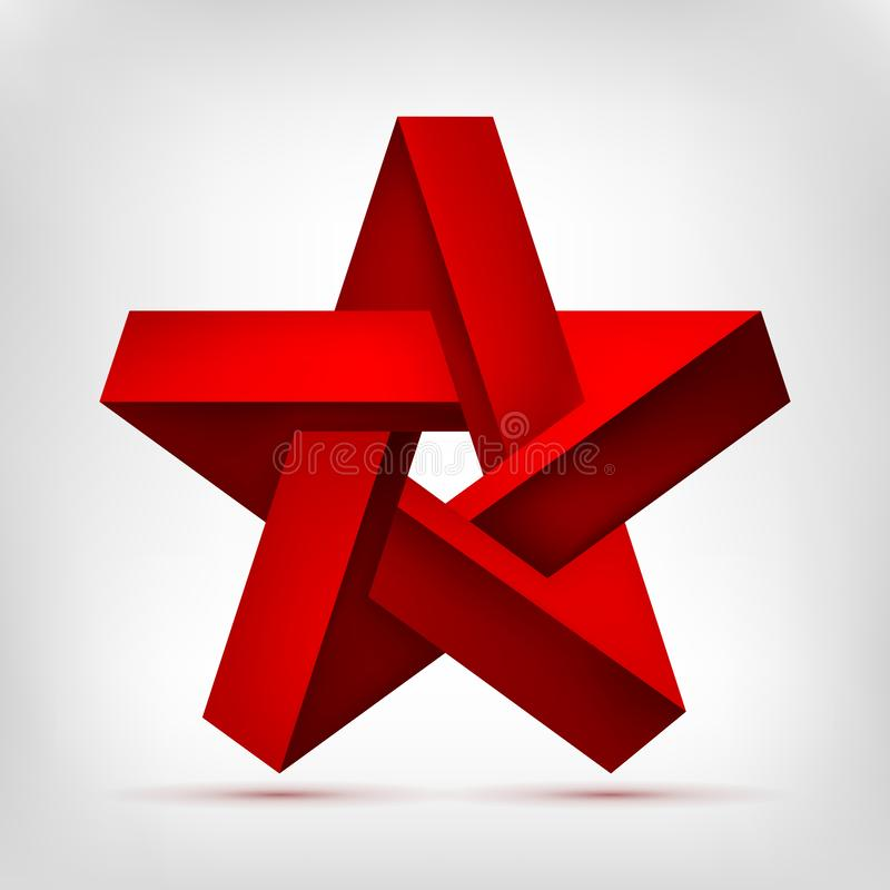 Pentagonal illusion red star. Five-pointed unreal shape, nonexistent geometry object, abstract vector design stock illustration