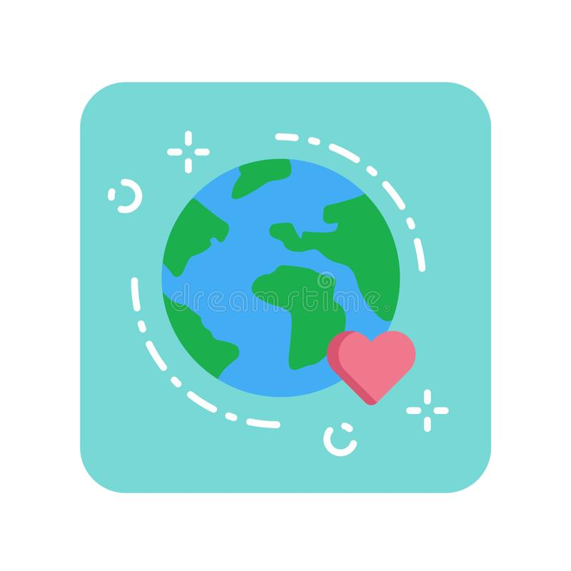 Earth flat color icon. Environmental protection concept. Save planet. Sign for web page, mobile app, banner, social media. Pictogram UI/UX user interface vector illustration
