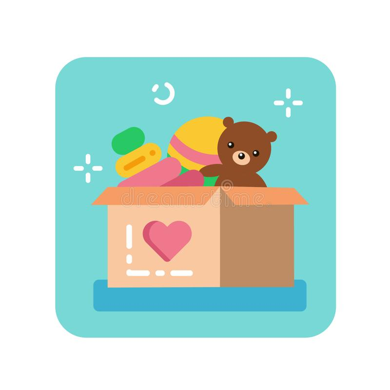 Donation box of toys flat color icon. Charity for children concept. stock illustration