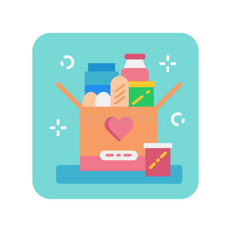 Donation box of food flat color icon. royalty free illustration