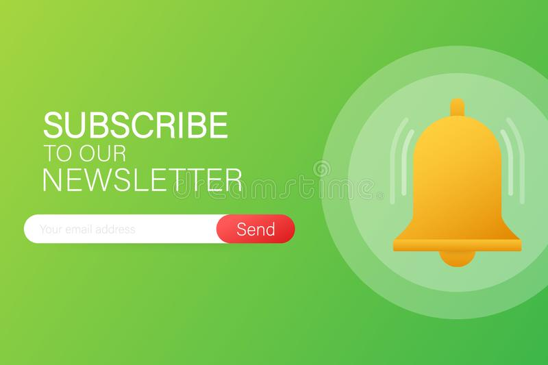 Email subscribe, online newsletter vector template with mailbox and submit button. Vector illustration. Email subscribe, online newsletter vector template with royalty free illustration