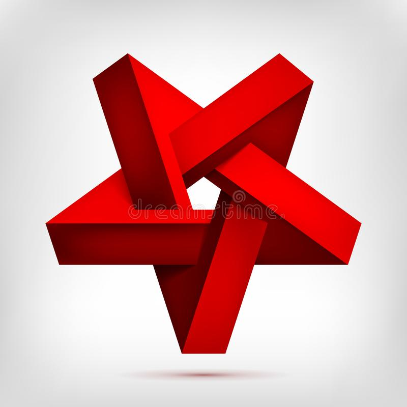 Pentagonal illusion red inverted star. Five-pointed unreal shape, nonexistent geometry object, abstract vector design stock illustration