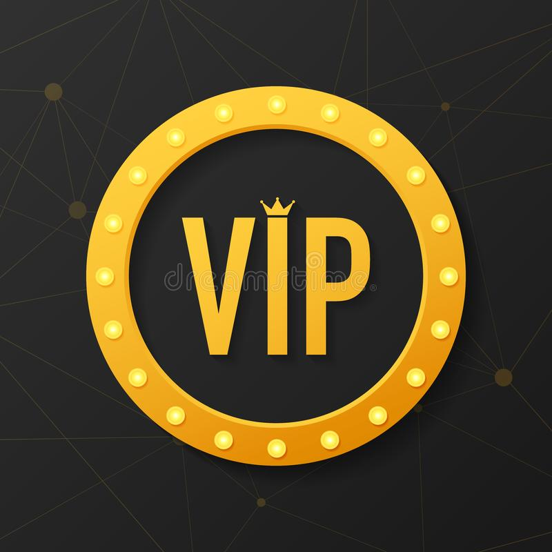 Golden symbol of exclusivity, the label VIP with glitter. Very important person - VIP icon on dark background Sign. Golden symbol of exclusivity, the label VIP vector illustration