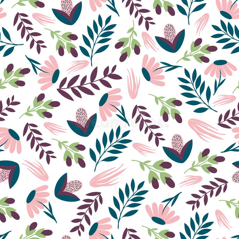 Seamless colourful floral pattern. Wrapping paper.Печать. Vector background with flowers and leaves. For print textile, paper. Scrapbook stock illustration