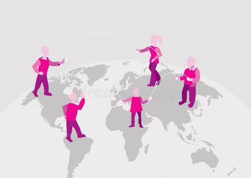 World connection. international team works together. Communication on the Internet vector illustration