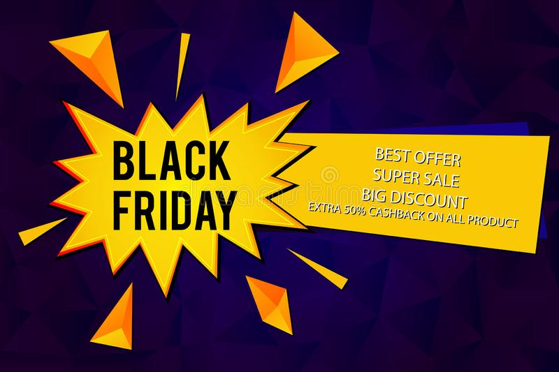 Black Friday Special Offer Sale vector isolated illustration with Comic speech balloons on dark purple background.  Pop art vector. Label illustration. Vintage vector illustration