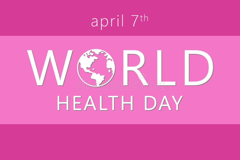 World health Day. 7th april. The Earth Vector isolated  illustration. On pink background royalty free illustration