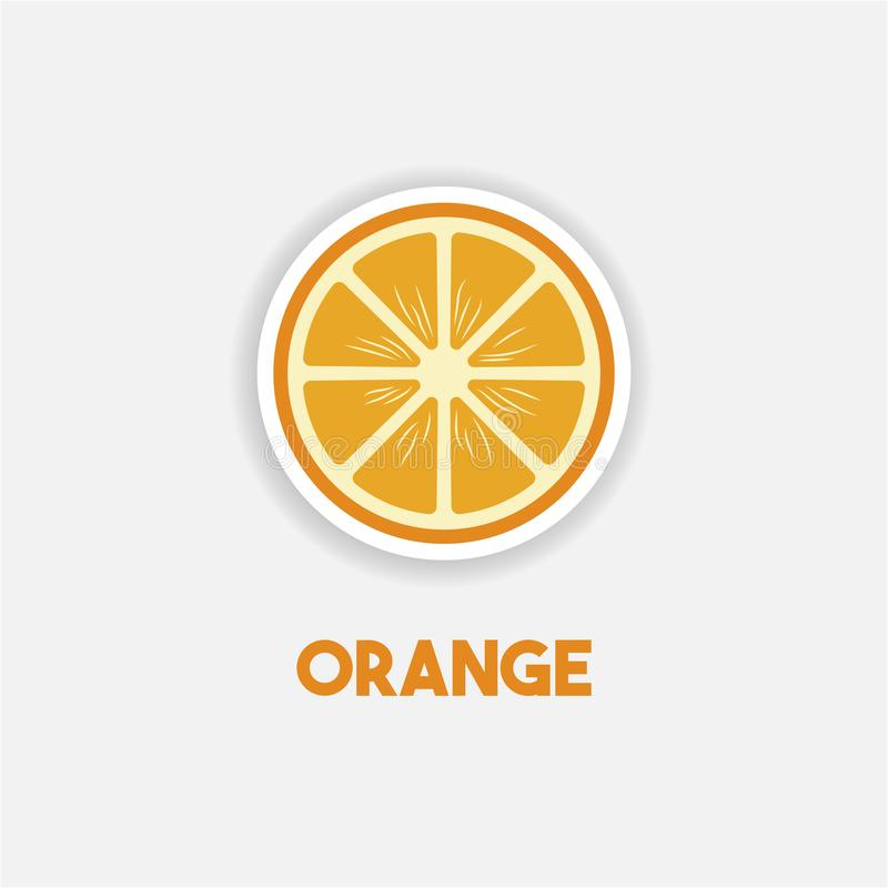 Orange Cartoon sticker in comics style with contour.  Element of education illustration.  Healthy vegetarian food. stock illustration