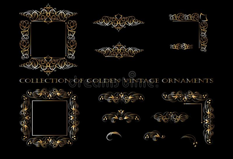 Golden ornament elements on a black background for the design of greeting and invitation cards. Vector design elements for infographic, web, internet stock illustration