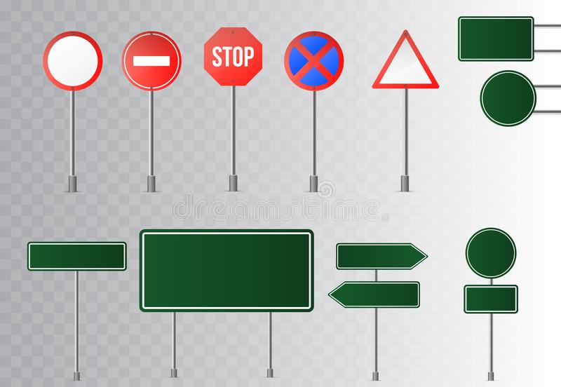Set of street traffic and green road signs, signpost and guidepost . isolated on transparent background. Vector illustration stock illustration