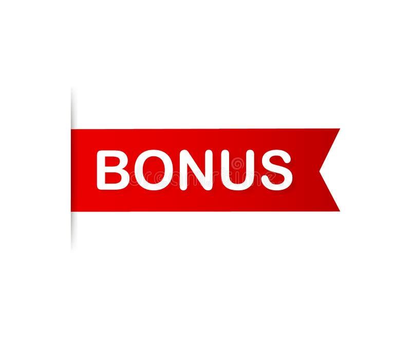Red banner bonus. Ribbon bonus on white background. Vector illustration. stock illustration