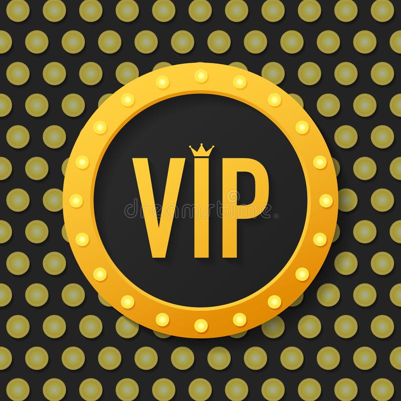 Golden symbol of exclusivity, the label VIP with glitter. Very important person - VIP icon on dark background. Sign of exclusivity with bright, Golden glow stock illustration