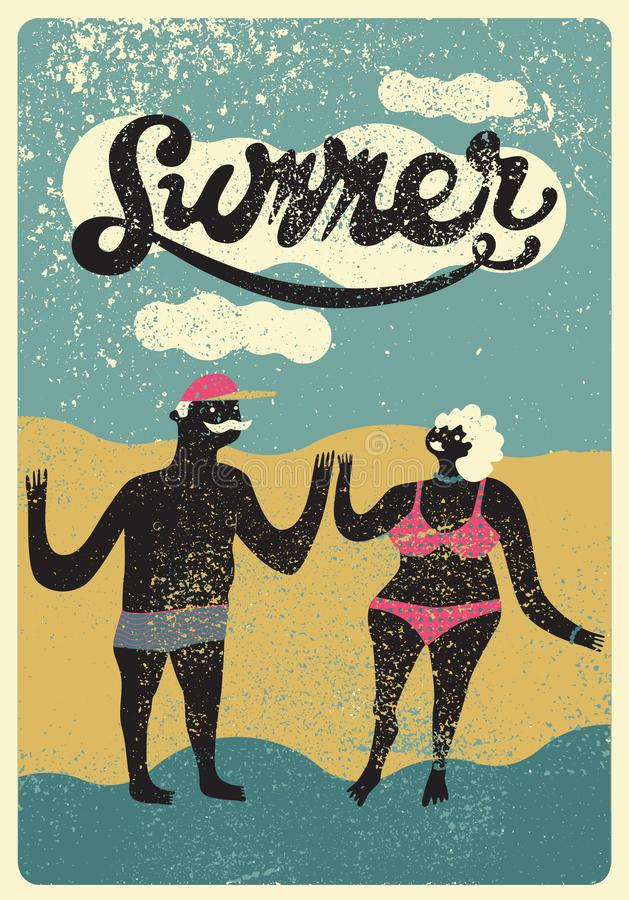 Summer typographic grunge vintage poster design with cartoon couple. Funny stylized man and woman in swimsuit. Retro vector illust. Summer typographic grunge vector illustration